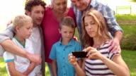 Happy family taking a selfie in the park video