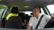 Happy Family With Father Mother Baby Child Infant In Car video