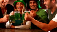 Happy friends celebrating St Patrick day video