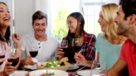 Happy friends having healthy lunch with wine video