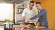HD: Happy Gay Couple Preparing Salad video