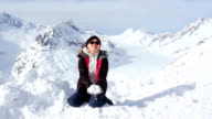 Happy Girl Playing Snow on Alps video