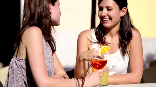 Happy Girl toasting at bar video
