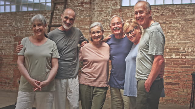 Happy group of active seniors after the Yoga Class video