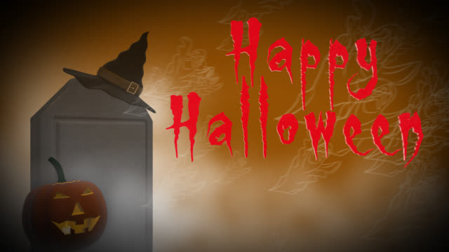 Happy Halloween 4K seamless loop with headstone and pumpkin video