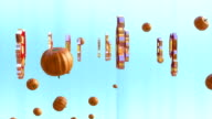 Happy Halloween and pumpkins flying, against light blue video