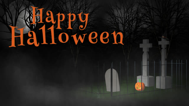 Happy Halloween greeting zooming out from witch's hat in cemetery video