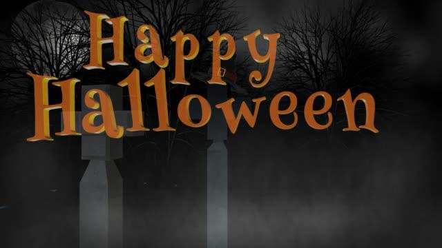 Happy Halloween seamless loop greeting with cemetery video