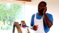 Happy Handyman Taking a Break video