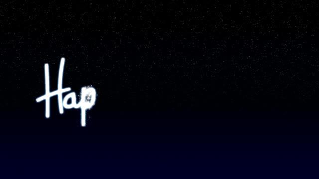 Happy Hanukkah writing in sky video
