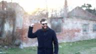 Happy hipster with a big beard video