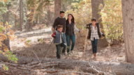Happy Hispanic family walking in a forest, panning shot video