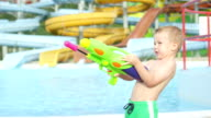 SLOW MOTION CLOSE UP: Happy kid shooting and squirting water with water gun in aqua park video