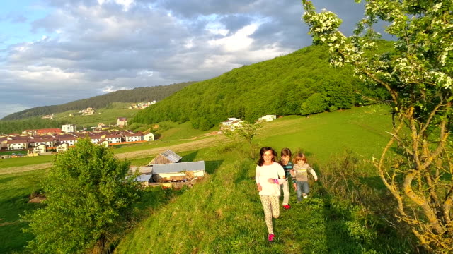 Happy Kids Running on Hill video