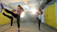 Happy ladies exercising during fitness class video