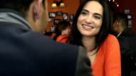 Happy Latin Woman on a Date in Restaurant video