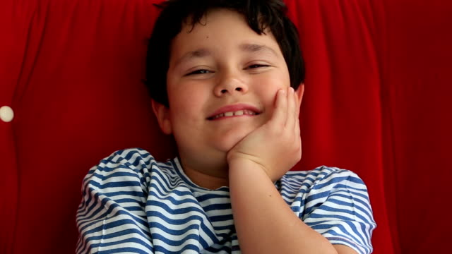 Happy little boy smiling video