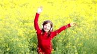 happy little girl enjoy in music video