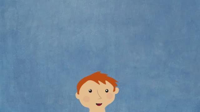 Happy male cartoon figure video