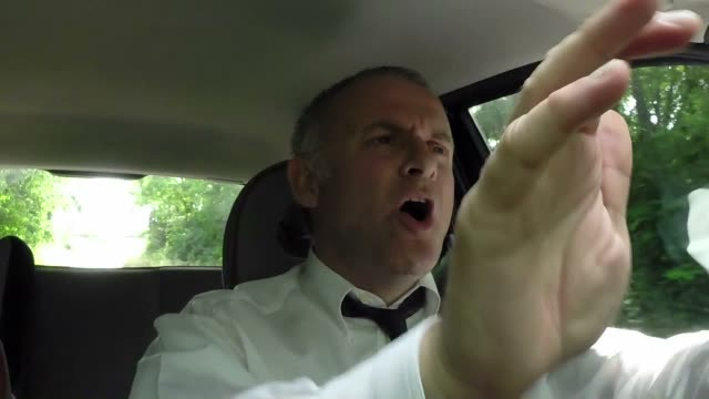 Happy Man Businessman People Driving Car Driver Singing Song Tune video