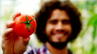 Happy man showing fresh tomato video