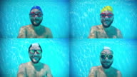 Happy man underwater composite video video