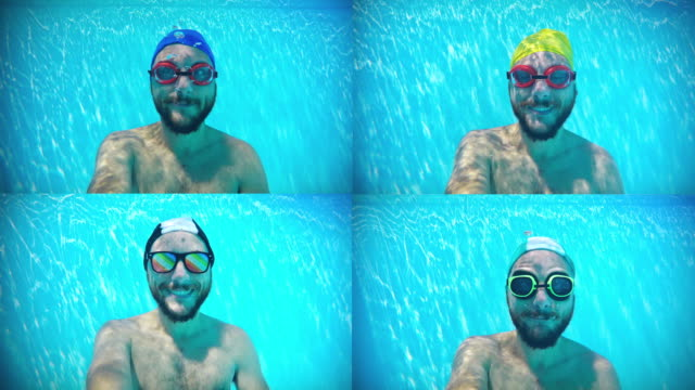Happy man underwater composite video video