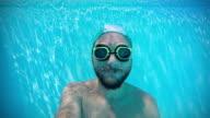 Happy man underwater video