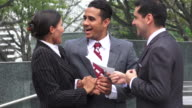 Happy Married Couple Or Homeowners Receive Deed Or Loan From Broker video