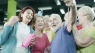 Happy mature people taking a selfie video