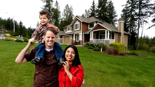 Happy Mixed Race Family of Three at Home video