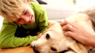 Happy mother and son playing with puppy on the rug video