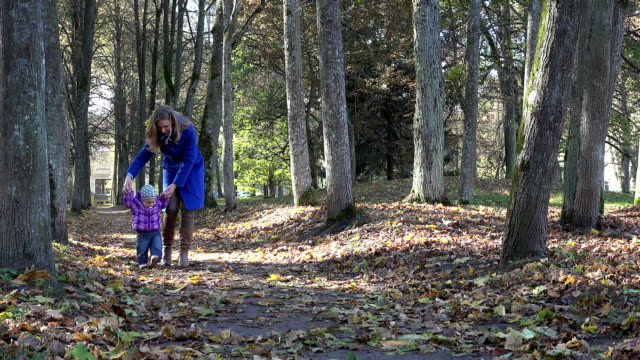 happy mother with little baby girl having fun in autumn park. FullHD video
