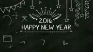 'Happy new year 2016' on chalk board (included alpha) video