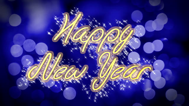 Happy New Year congratulation message on blue background, creative greeting video