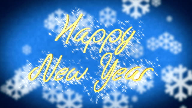 Happy New Year greeting on blue snowy background, congratulation message video