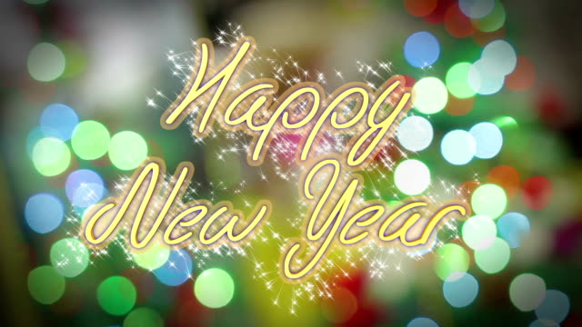 Happy New Year greeting on shiny colorful background, congratulation message video