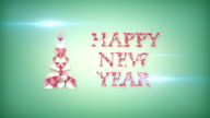 happy new year greeting triangles shape video