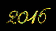 2017 Happy New Year made from colorful particles against black video