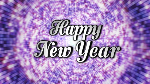 Happy New Year,  Text in Disco Dance Tunnel, In / Out,  Rotation Text, Loop, with Alpha Channel, 4k video