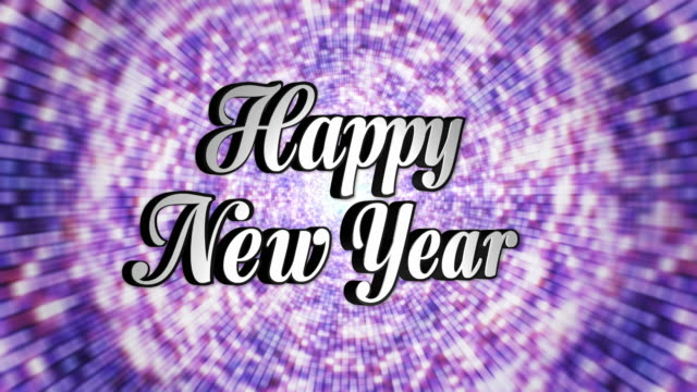 Happy New Year,  Text in Disco Dance Tunnel, Rotation, Loop, with Alpha Channel, 4k video