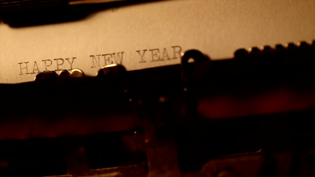 'Happy new year' typed using an old typewriter video