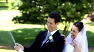 Happy newlyweds spraying bottle of champagne video