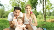 CLOSE UP: Happy parents with beautiful baby girl sitting on blanket in park video