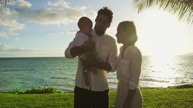 Happy parents with young baby video