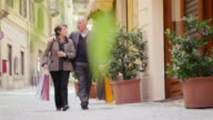 Happy people, leisure, lifestyle, senior, elderly, old man, woman shopping video