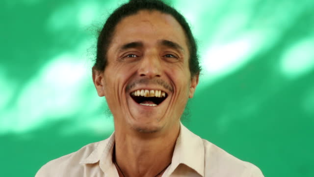 Happy People Portrait Of Latino Man With Goatee Laughing video