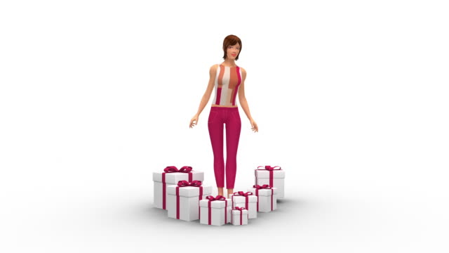 Happy Pretty Woman Surrounded By Gifts - 3D Animation video