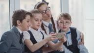 Happy School Friends Taking Selfies video
