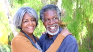 Happy senior African American couple embracing and talking video